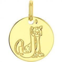 Médaille J comme jaguar personnalisable (or jaune 750°)