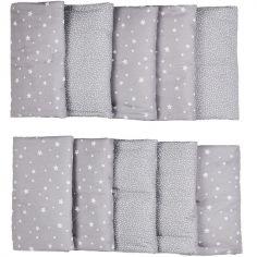 Tour de lit modulable et respirant étoile gris (pour lits 60 x 120 et 70 x 140 cm)