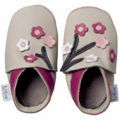 Chaussons bébé cuir Soft soles fleurs taupe (15-21 mois) - Bobux