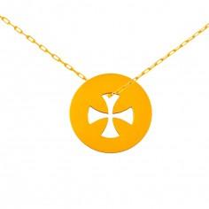 Collier chaîne 40 cm médaille Signes Croix égale 16 mm (or jaune 750°)
