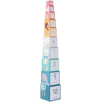 Cubes empilables Les jolis trop beaux (10 cubes)  par Moulin Roty