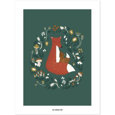 Affiche renard Forest Happiness (30 x 40 cm)  par Lilipinso