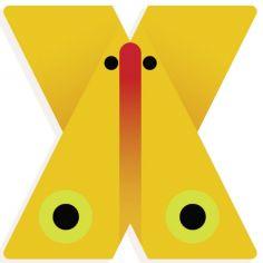 Lettre décorative papillon X