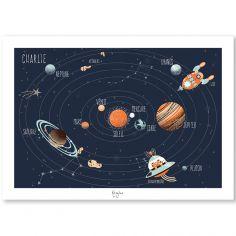 Affiche A3 Le système solaire (personnalisable)