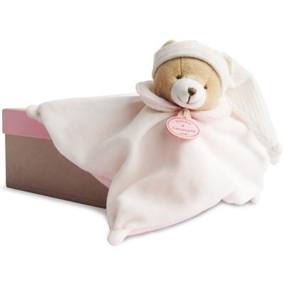 Doudou plat L'Original ours rose (25 cm) Doudou et Compagnie
