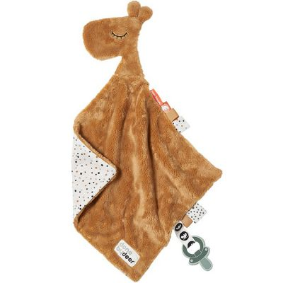 Doudou plat attache sucette Raffi la girafe moutarde (30 cm)  par Done by Deer
