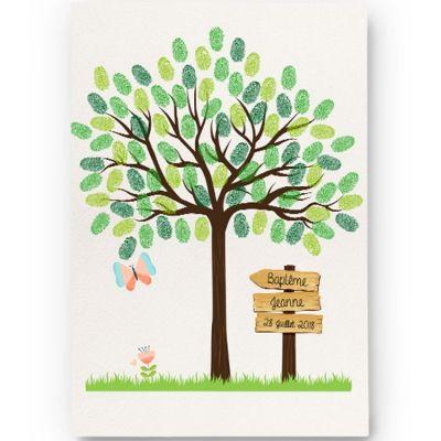 Kit arbre à empreintes papillon personnalisable (A4) La Poupette à paillettes