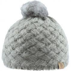 Bonnet en tricot à pompon gris (0-6 mois)