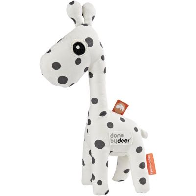 Hochet peluche Raffi la girafe blanc et gris (20 cm)  par Done by Deer
