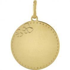 Médaille ronde Papillon (or jaune 750°)