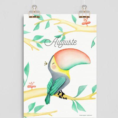 Affiche A4 Toucan (personnalisable)  par Gaëlle Duval