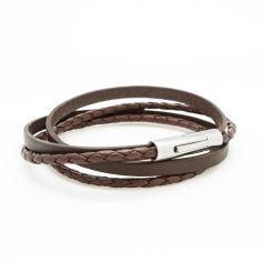 Bracelet double tour Le Mix marron (acier)