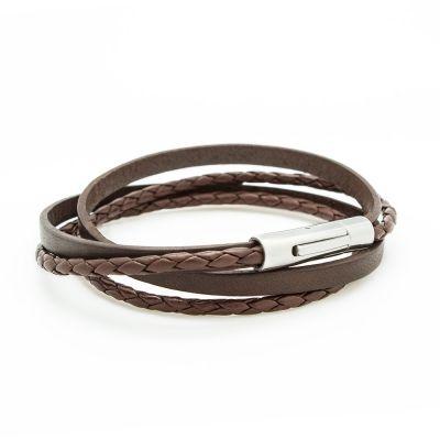 Bracelet double tour Le Mix marron (acier)  par Petits trésors