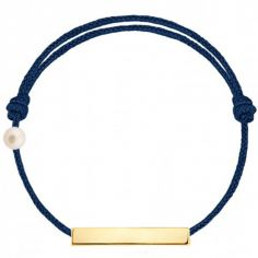 Bracelet cordon Plaque et perle bleu marine (or jaune 750°)