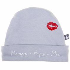 Bonnet de naissance Maman + Papa = Moi gris clair