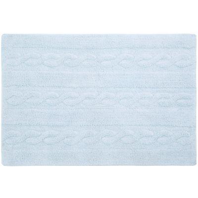 Tapis lavable unis à torsades bleu gris (80 x 120 cm)  par Lorena Canals