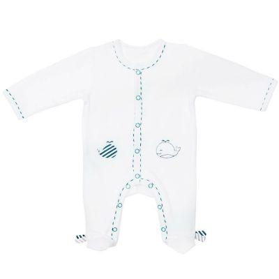 Pyjama chaud velours en Y Blue baleine (1 mois)  par Sauthon