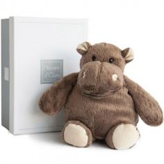 Coffret peluche hippopotame marron (23 cm)