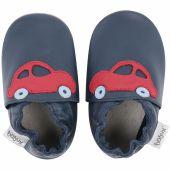 Chaussons en cuir Soft soles bleu marine voiture rouge (3-9 mois) - Bobux