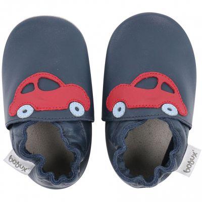 Chaussons en cuir Soft soles bleu marine voiture rouge (3-9 mois)  par Bobux