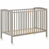 Lit à barreaux en bois massif laqué gris clair (60 x 120 cm) - Combelle