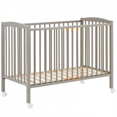 lit barreaux en bois massif laqu gris clair 60 x 120 cm. Black Bedroom Furniture Sets. Home Design Ideas