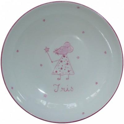 Assiette creuse en porcelaine souris rose personnalisable  par Laetitia Socirat