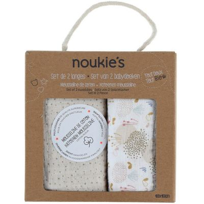 Lot de 2 langes en mousseline de coton bio Lina & Joy (100 x 100 cm)  par Noukie's