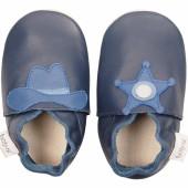 Chaussons en cuir Soft soles western bleu (3-9 mois) - Bobux