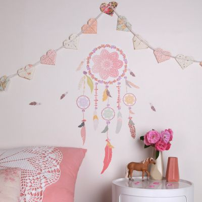Stickers attrape rves rose petit modle love ma for Sticker mural chambre fille