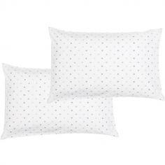 Lot de 2 taies d'oreiller en coton bio étoile (40 x 60 cm)