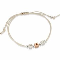 Bracelet cordon beige 1 cube garçon 2 cubes coeur (or rose 375° et argent 925°)