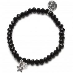 Bracelet Charm perles noires charm étoile