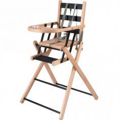 Chaise haute extra pliante en bois Sarah hybride noir