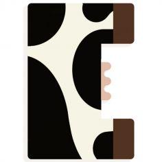 Lettre décorative vache E (coloris aléatoire)