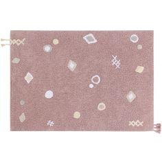 Tapis en coton lavable Noah rose (140 x 200 cm)