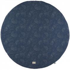 Tapis de jeu rond Full Moon coton bio Gold bubble Night blue (105 cm)