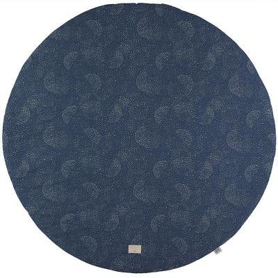 Tapis de jeu rond Full Moon coton bio Gold bubble Night blue (105 cm)  par Nobodinoz