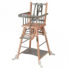 Chaise haute transformable Marcel hybride gris clair