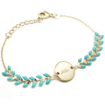 Bracelet épi turquoise personnalisable (plaqué or, émail)  par Petits trésors