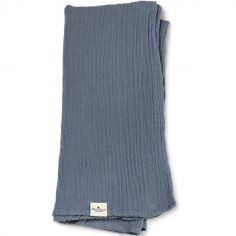 Lange en bambou et coton bleu Tender Blue (80 x 80 cm)