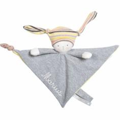 Doudou attache sucette Nin-Nin le lapin Les petits dodos personnalisable
