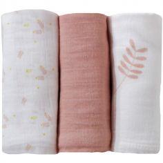 Lot de 3 langes en coton rose (70 x 70 cm)