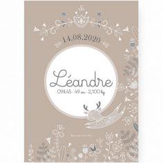 Affiche de naissance A2 Petit renne avec support (personnalisable)