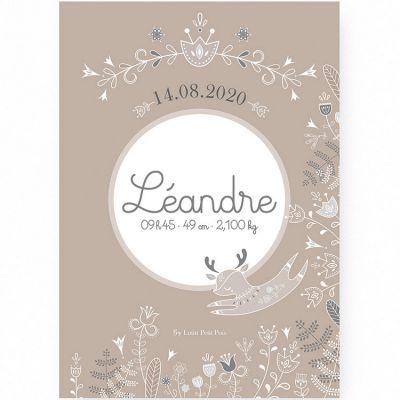 Affiche de naissance A2 Petit renne avec support (personnalisable)  par Lutin Petit Pois