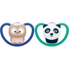 Lot de 2 sucettes physiologiques Space hibou et panda (18-36 mois)