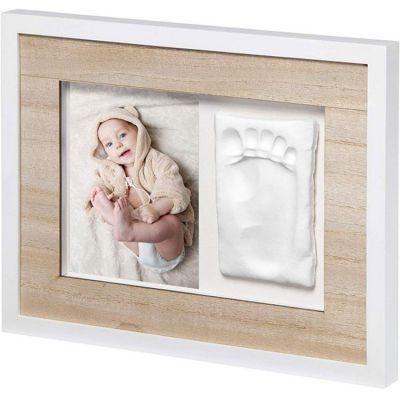 Cadre photo empreinte Tiny Style bois et blanc  par Baby Art