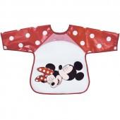 Bavoir tablier à manches Mickey et Minnie rouge - Babycalin