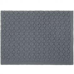 Couverture tricotée en dentelle gris souris (75 x 100 cm)