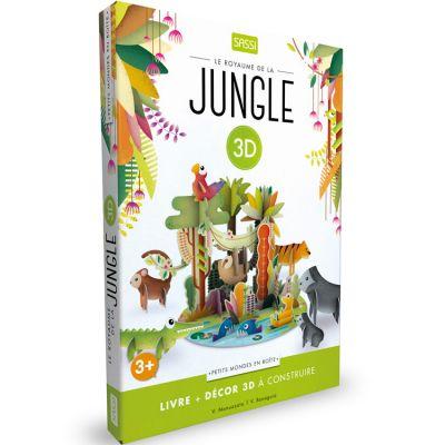 Livre et maquette 3D Mondes en boîte Le royaume de la jungle Sassi Junior